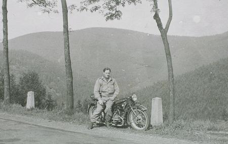Ernst on motorcycle