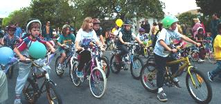 Parade of children on bikes