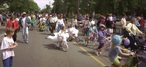 Children on decorated bicycles in the Guildwood Day parade