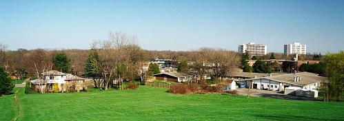 panoramic view towards center of Guildwood Village