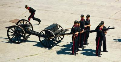 Photo of members of the Fort Henry Guard practicing maneuvers