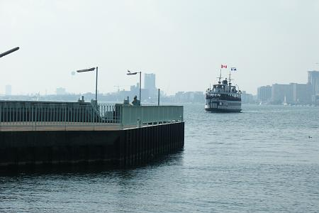 Ferry approaching Ward's Island dock