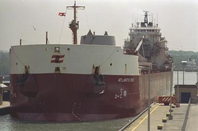 Photo of ship leaving lock 3